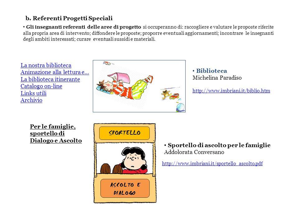 b. Referenti Progetti Speciali Biblioteca Michelina Paradiso La nostra biblioteca Animazione alla lettura e... La biblioteca itinerante Catalogo on-li