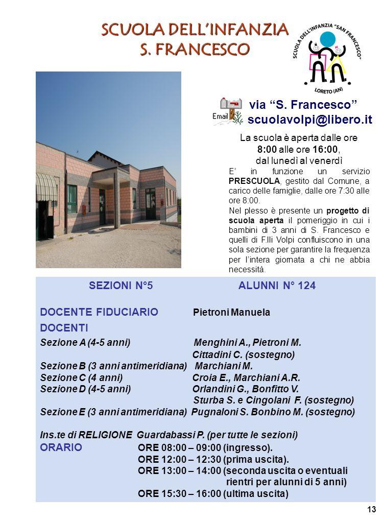 SCUOLA DELLINFANZIA S. FRANCESCO via S. Francesco scuolavolpi@libero.it La scuola è aperta dalle ore 8:00 alle ore 16:00, dal lunedì al venerdì E in f