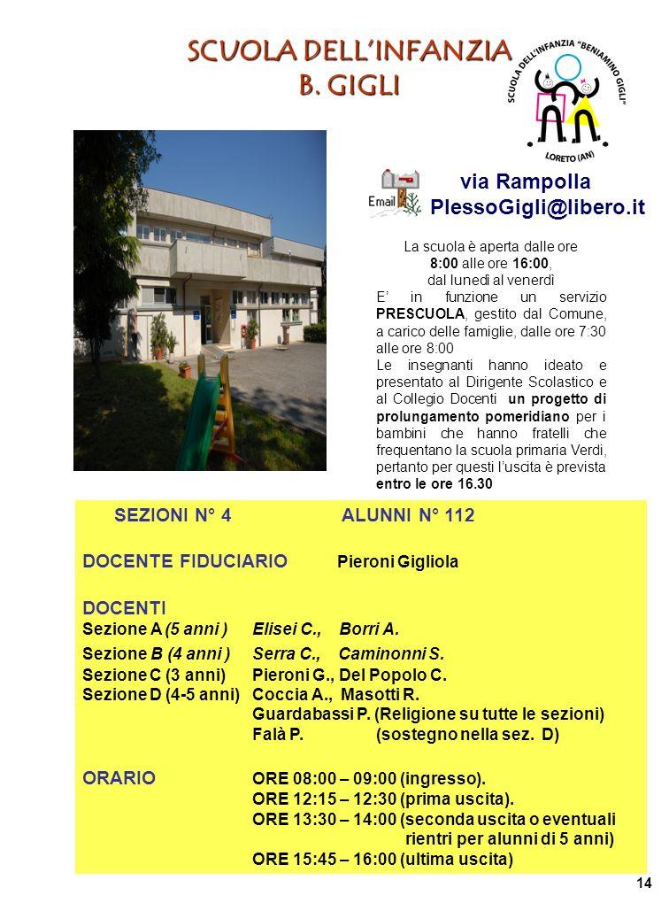 SCUOLA DELLINFANZIA B. GIGLI La scuola è aperta dalle ore 8:00 alle ore 16:00, dal lunedì al venerdì E in funzione un servizio PRESCUOLA, gestito dal