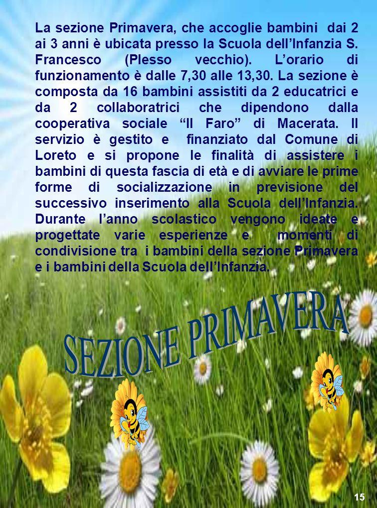 La sezione Primavera, che accoglie bambini dai 2 ai 3 anni è ubicata presso la Scuola dellInfanzia S. Francesco (Plesso vecchio). Lorario di funzionam