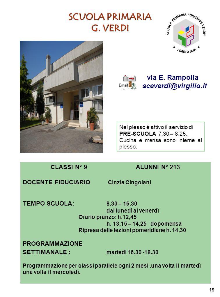 SCUOLA PRIMARIA G. VERDI via E. Rampolla sceverdi@virgilio.it CLASSI N° 9 ALUNNI N° 213 DOCENTE FIDUCIARIO Cinzia Cingolani TEMPO SCUOLA: 8.30 – 16.30