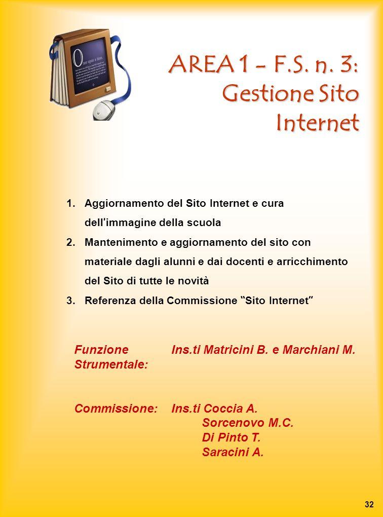AREA 1 - F.S. n. 3: Gestione Sito Internet 1.Aggiornamento del Sito Internet e cura dell immagine della scuola 2.Mantenimento e aggiornamento del sito