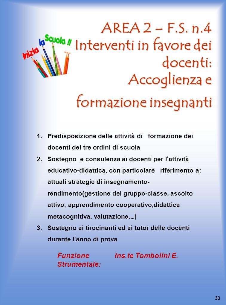 AREA 2 – F.S. n.4 Interventi in favore dei docenti: Accoglienza e formazione insegnanti 1.Predisposizione delle attività di formazione dei docenti dei