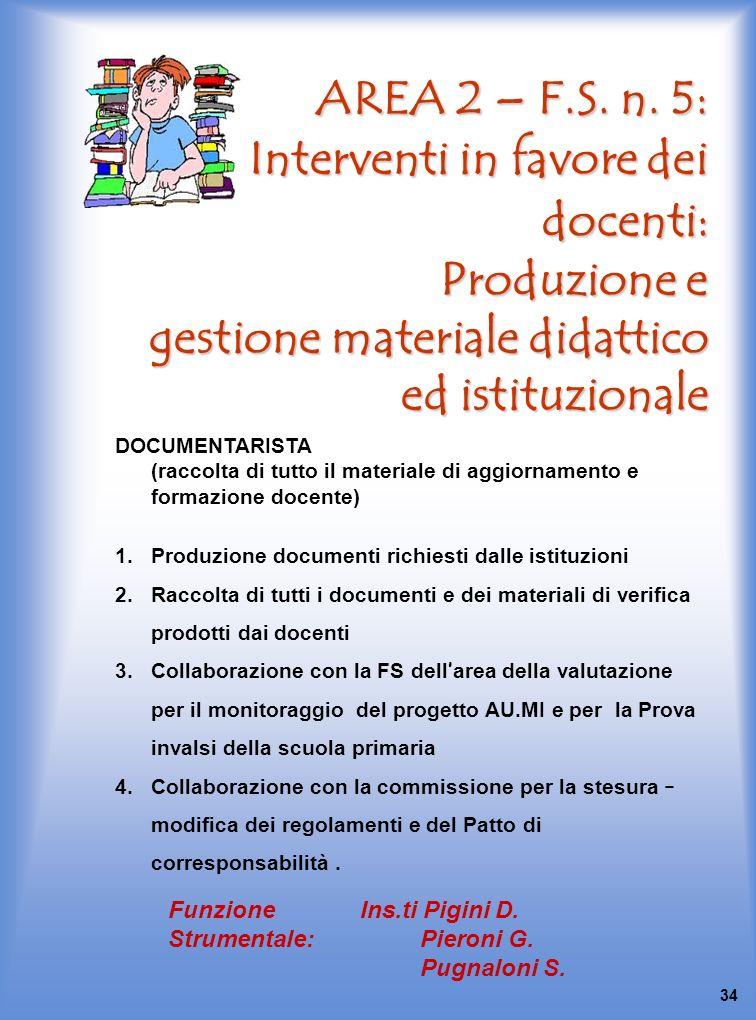 AREA 2 – F.S. n. 5: Interventi in favore dei docenti: Produzione e gestione materiale didattico ed istituzionale DOCUMENTARISTA (raccolta di tutto il