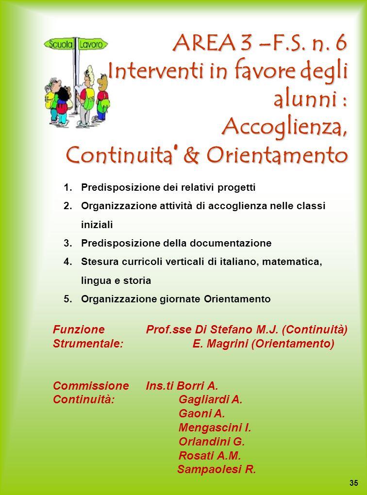 AREA 3 –F.S. n. 6 Interventi in favore degli alunni : Accoglienza, Continuita & Orientamento 1.Predisposizione dei relativi progetti 2.Organizzazione