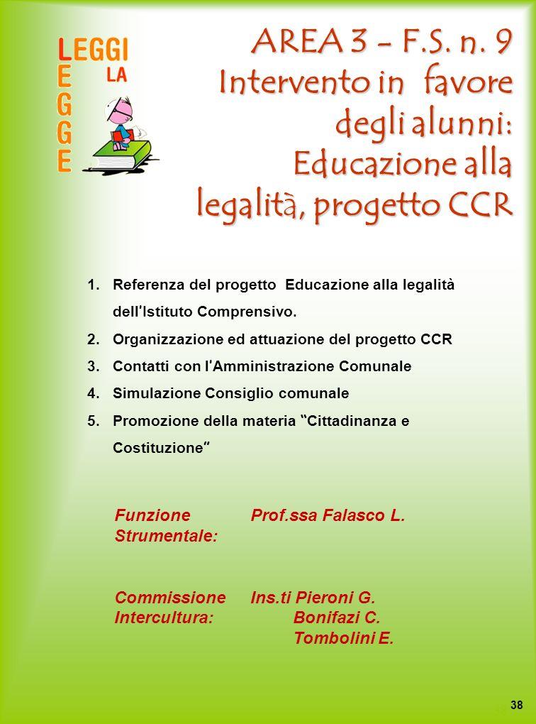 AREA 3 - F.S. n. 9 Intervento in favore degli alunni: Educazione alla legalità, progetto CCR 1.Referenza del progetto Educazione alla legalità dell Is