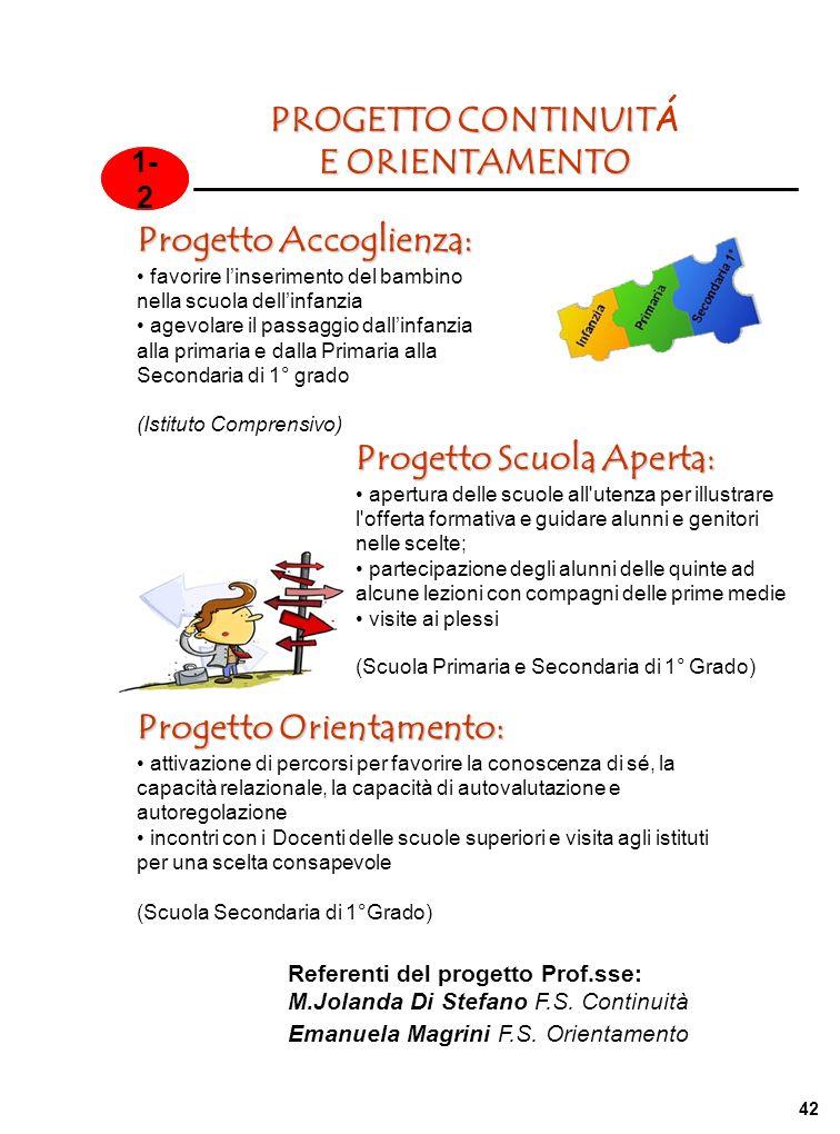 Referenti del progetto Prof.sse: M.Jolanda Di Stefano F.S. Continuità Emanuela Magrini F.S. Orientamento 1- 2 PROGETTO CONTINUIT PROGETTO CONTINUIT Á