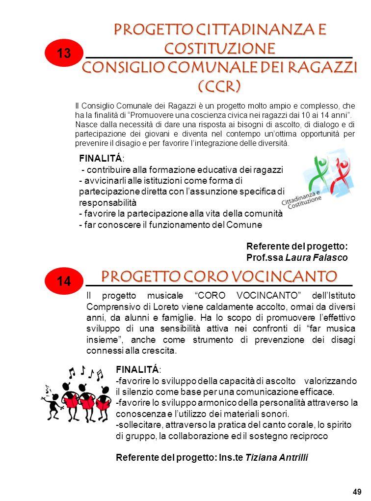 PROGETTO CITTADINANZA E COSTITUZIONE CONSIGLIO COMUNALE DEI RAGAZZI (CCR) 13 14 PROGETTO CORO VOCINCANTO Il Consiglio Comunale dei Ragazzi è un proget