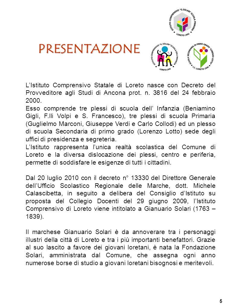 PRESENTAZIONE LIstituto Comprensivo Statale di Loreto nasce con Decreto del Provveditore agli Studi di Ancona prot. n. 3816 del 24 febbraio 2000. Esso
