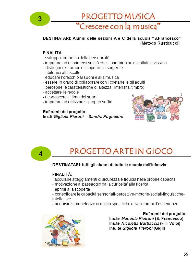 3 PROGETTO MUSICA Crescere con la musica Crescere con la musica DESTINATARI: Alunni delle sezioni A e C della scuola S.Francesco (Metodo Rusticucci) F