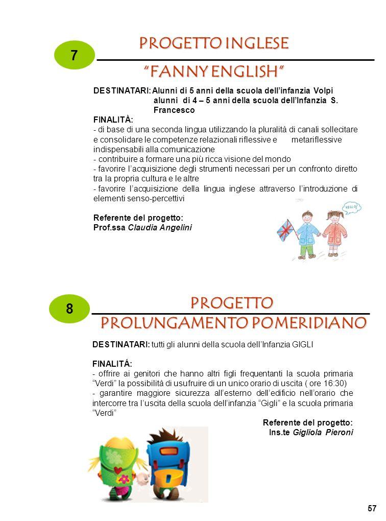 57 FANNY ENGLISH DESTINATARI: Alunni di 5 anni della scuola dellinfanzia Volpi alunni di 4 – 5 anni della scuola dellInfanzia S. Francesco FINALITÀ: -