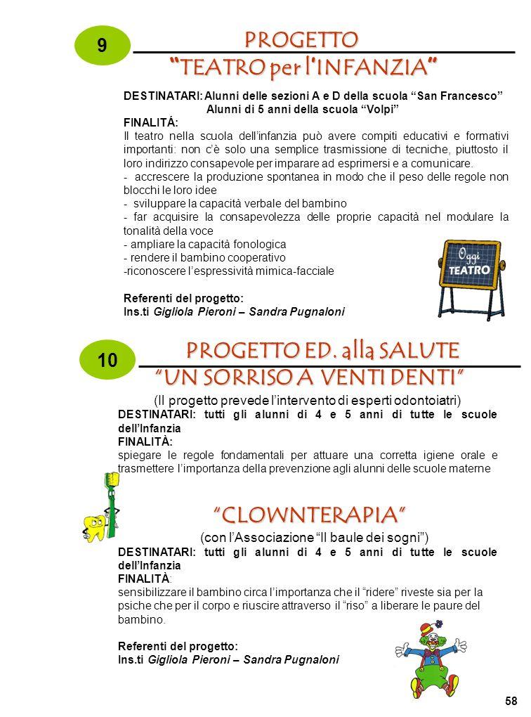 58PROGETTO TEATRO per l INFANZIA TEATRO per l INFANZIA 9 DESTINATARI: Alunni delle sezioni A e D della scuola San Francesco Alunni di 5 anni della scu