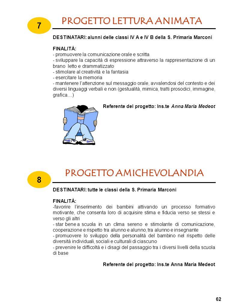PROGETTO AMICHEVOLANDIA 8 DESTINATARI: tutte le classi della S.