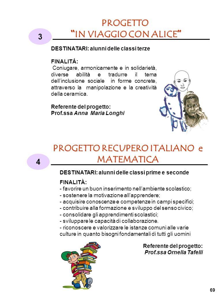 PROGETTO IN VIAGGIO CON ALICE IN VIAGGIO CON ALICE 3 4 PROGETTO RECUPERO ITALIANO e MATEMATICA DESTINATARI: alunni delle classi terze FINALITÁ: Coniugare, armonicamente e in solidarietà, diverse abilità e tradurre il tema dellinclusione sociale in forme concrete, attraverso la manipolazione e la creatività della ceramica.