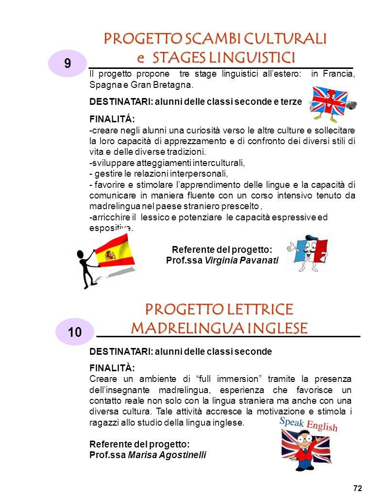 PROGETTO SCAMBI CULTURALI e STAGES LINGUISTICI 9 10 PROGETTO LETTRICE MADRELINGUA INGLESE Il progetto propone tre stage linguistici allestero: in Francia, Spagna e Gran Bretagna.