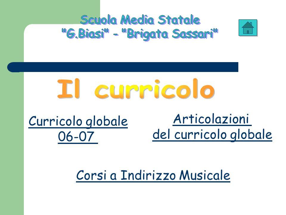 Curricolo globale 06-07 Articolazioni del curricolo globale Corsi a Indirizzo Musicale