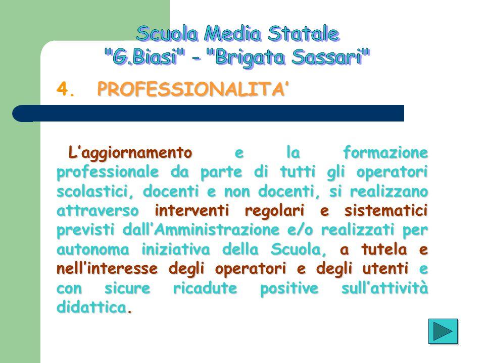 PROFESSIONALITA 4. PROFESSIONALITA Laggiornamento e la formazione professionale da parte di tutti gli operatori scolastici, docenti e non docenti, si