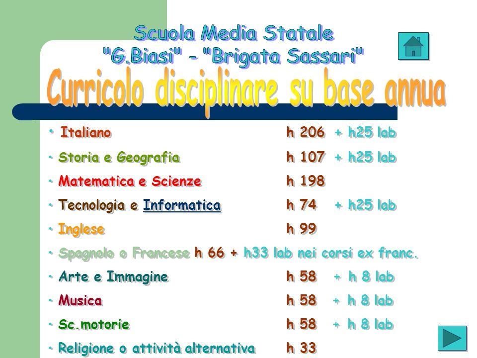 Italiano h 206 + h25 lab Storia e Geografia h 107 + h25 lab Matematica e Scienze h 198 Tecnologia e Informatica h 74 + h25 labInformatica Inglese h 99