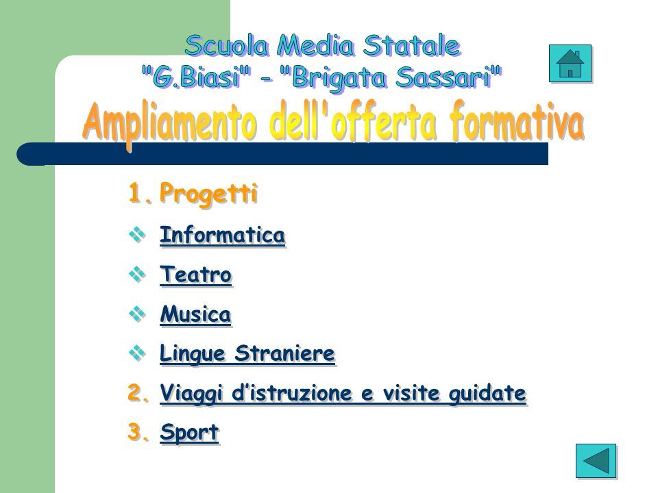 1.Progetti Informatica Teatro Musica Lingue Straniere 2.Viaggi distruzione e visite guidateViaggi distruzione e visite guidate 3.SportSport 1.Progetti