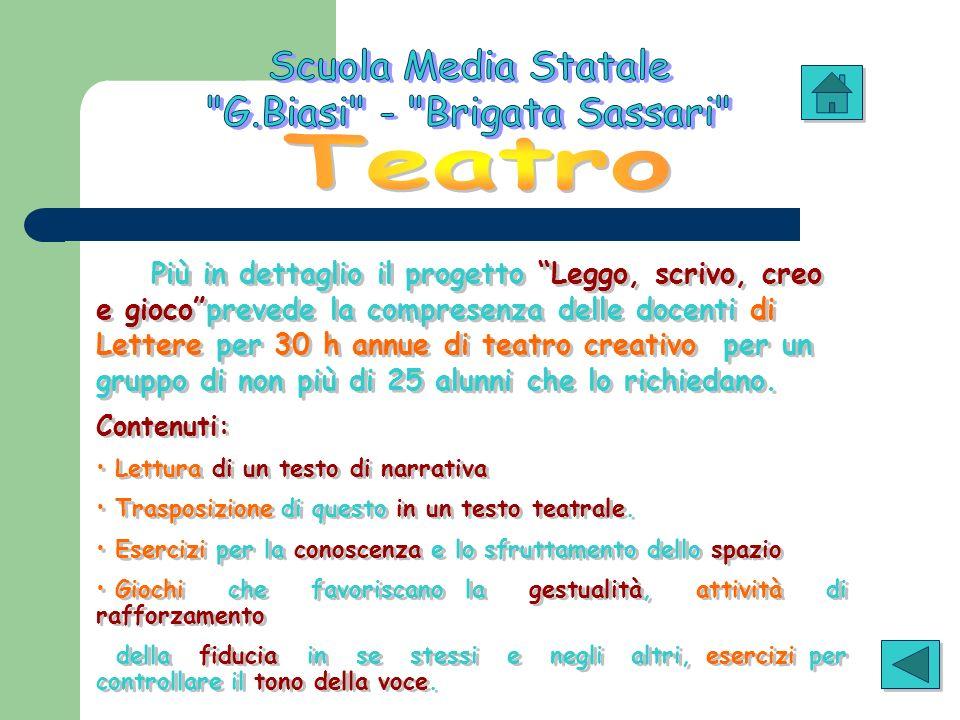 Più in dettaglio il progetto Leggo, scrivo, creo e giocoprevede la compresenza delle docenti di Lettere per 30 h annue di teatro creativo per un grupp