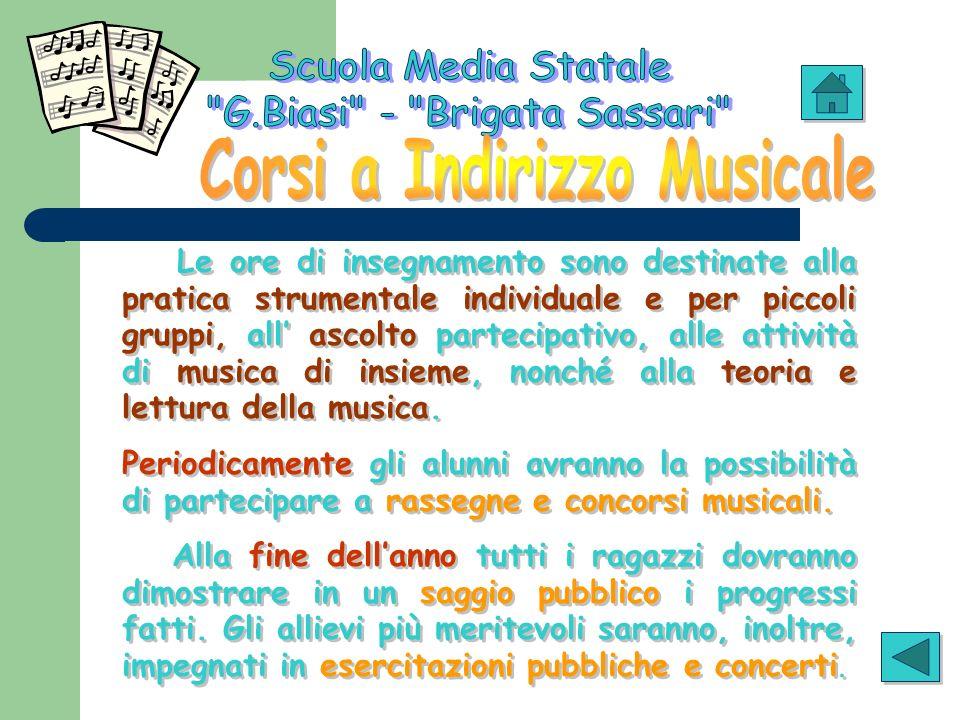 Le ore di insegnamento sono destinate alla pratica strumentale individuale e per piccoli gruppi, all ascolto partecipativo, alle attività di musica di