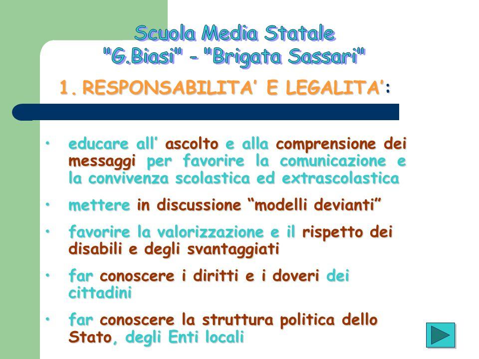 1.RESPONSABILITA E LEGALITA: educare all ascolto e alla comprensione dei messaggi per favorire la comunicazione e la convivenza scolastica ed extrasco