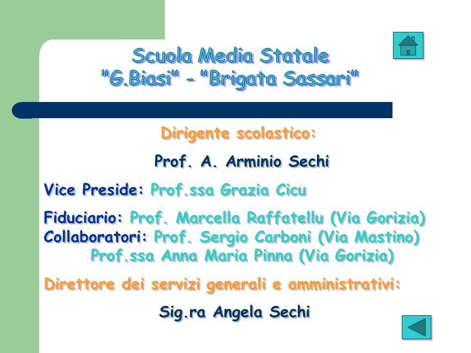 Dirigente scolastico: Prof. A. Arminio Sechi Vice Preside: Prof.ssa Grazia Cicu Fiduciario: Prof. Marcella Raffatellu (Via Gorizia) Collaboratori: Pro