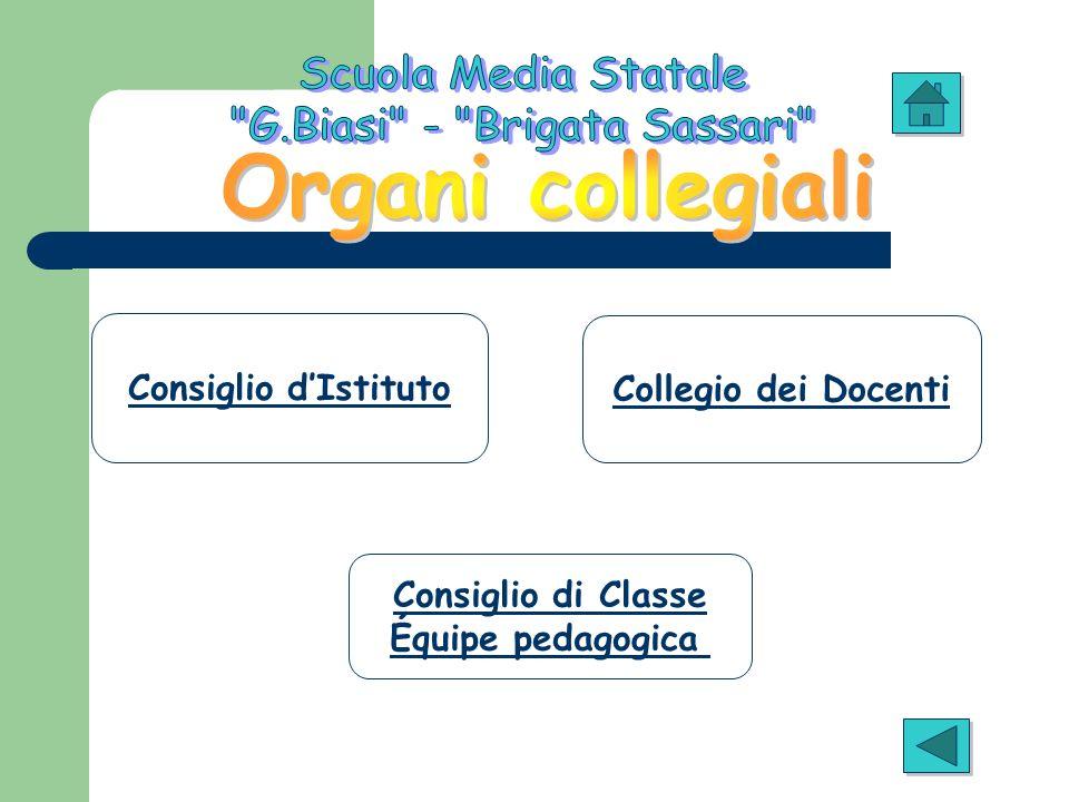 Consiglio dIstituto Collegio dei Docenti Consiglio di Classe Équipe pedagogica