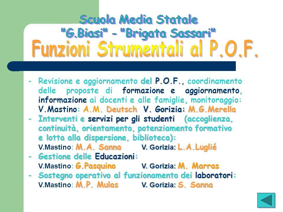 del P.O.F., - Revisione e aggiornamento del P.O.F., coordinamento, delle proposte di formazione e aggiornamento,, informazione ai docenti e alle famig