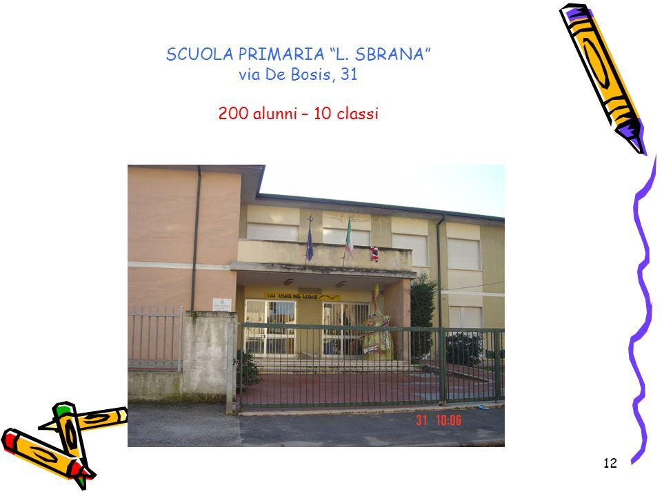 12 SCUOLA PRIMARIA L. SBRANA via De Bosis, 31 200 alunni – 10 classi
