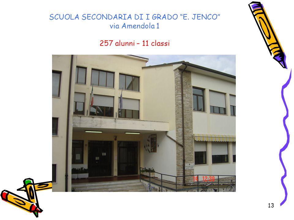 13 SCUOLA SECONDARIA DI I GRADO E. JENCO via Amendola 1 257 alunni – 11 classi