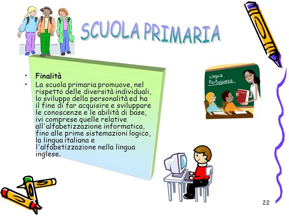 22 Finalità La scuola primaria promuove, nel rispetto delle diversità individuali, lo sviluppo della personalità ed ha il fine di far acquisire e svil