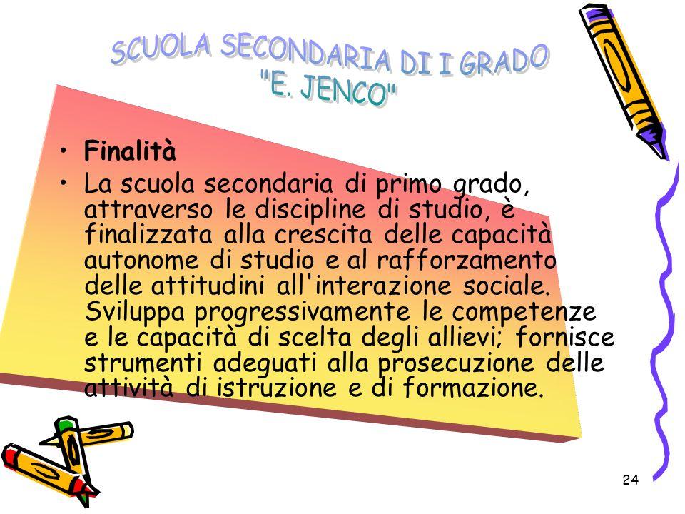 24 Finalità La scuola secondaria di primo grado, attraverso le discipline di studio, è finalizzata alla crescita delle capacità autonome di studio e a