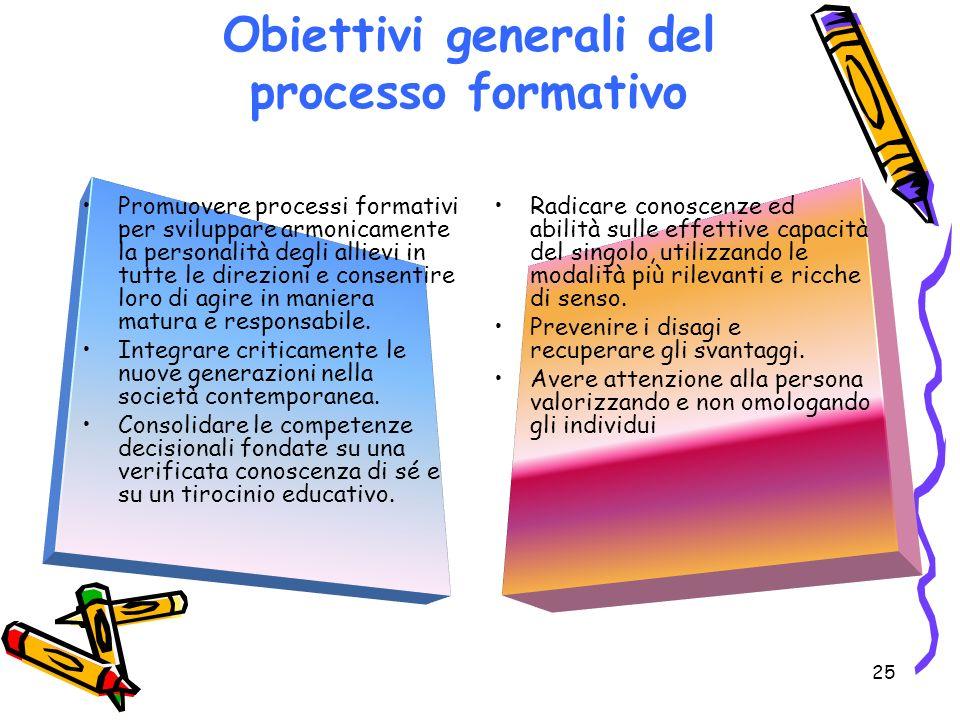 25 Promuovere processi formativi per sviluppare armonicamente la personalità degli allievi in tutte le direzioni e consentire loro di agire in maniera