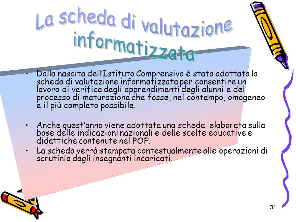 31 Dalla nascita dellIstituto Comprensivo è stata adottata la scheda di valutazione informatizzata per consentire un lavoro di verifica degli apprendi