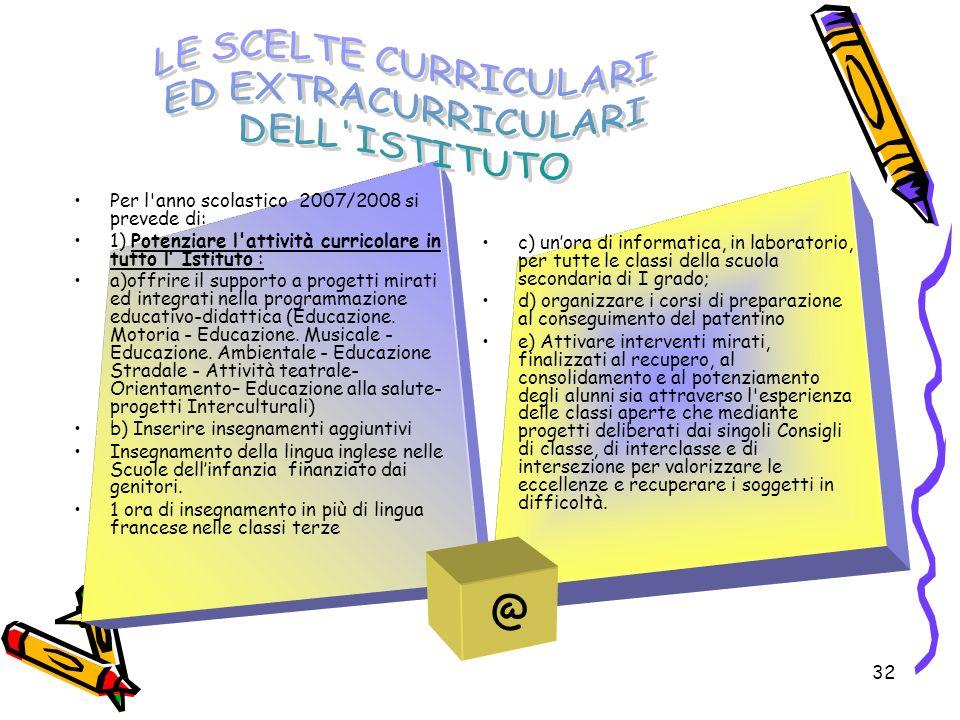 32 Per l'anno scolastico 2007/2008 si prevede di: 1) Potenziare l'attività curricolare in tutto l Istituto : a)offrire il supporto a progetti mirati e