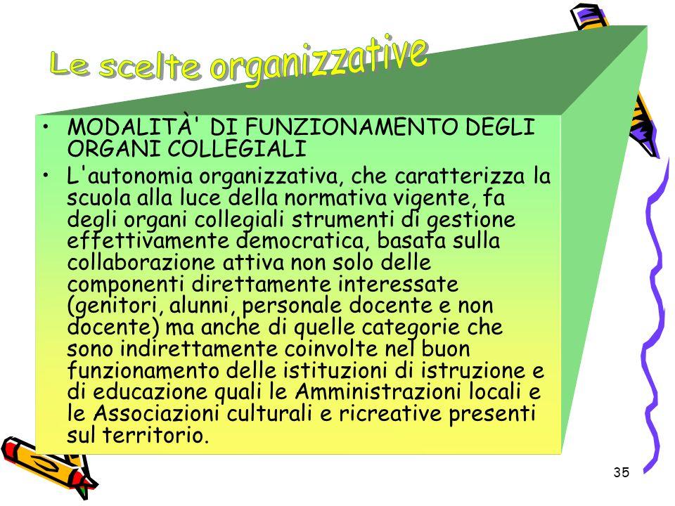 35 MODALITÀ' DI FUNZIONAMENTO DEGLI ORGANI COLLEGIALI L'autonomia organizzativa, che caratterizza la scuola alla luce della normativa vigente, fa degl