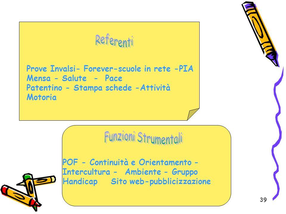 39 Prove Invalsi- Forever-scuole in rete -PIA Mensa - Salute - Pace Patentino - Stampa schede -Attività Motoria POF - Continuità e Orientamento - Inte