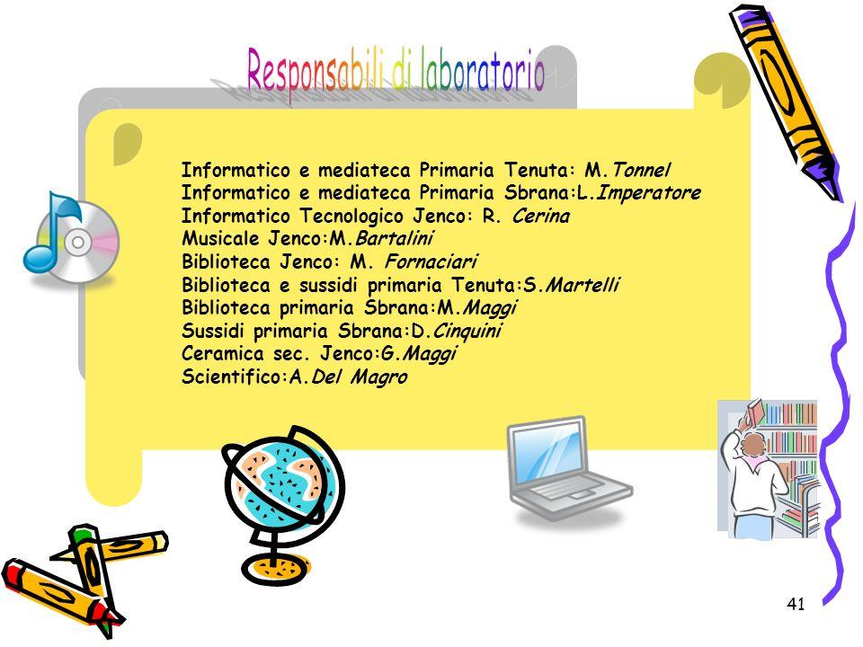 41 Informatico e mediateca Primaria Tenuta: M.Tonnel Informatico e mediateca Primaria Sbrana:L.Imperatore Informatico Tecnologico Jenco: R. Cerina Mus