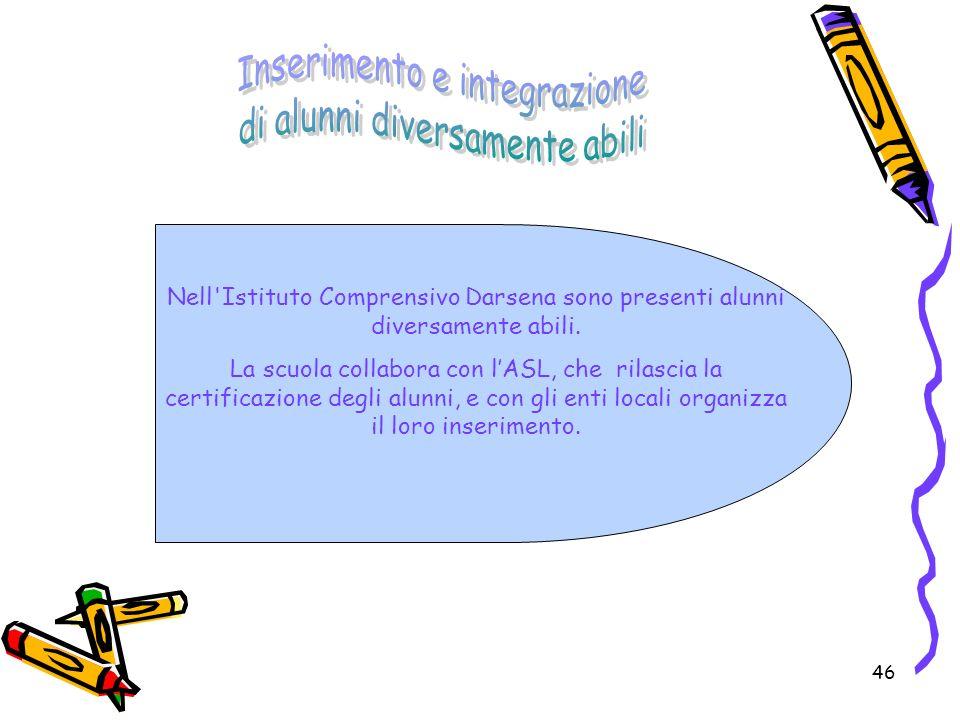 46 Nell'Istituto Comprensivo Darsena sono presenti alunni diversamente abili. La scuola collabora con lASL, che rilascia la certificazione degli alunn
