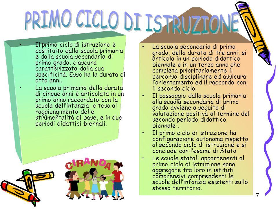 7 Il primo ciclo di istruzione è costituito dalla scuola primaria e dalla scuola secondaria di primo grado, ciascuna caratterizzata dalla sua specific