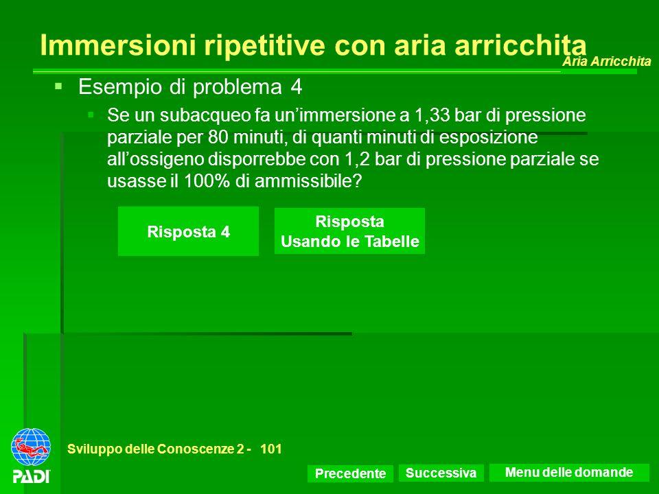 Precedente Successiva Aria Arricchita Sviluppo delle Conoscenze 2 -101 Risposta 4 Esempio di problema 4 Se un subacqueo fa unimmersione a 1,33 bar di