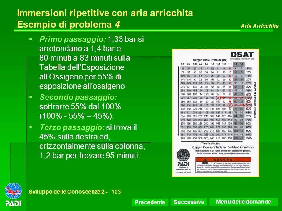 Precedente Successiva Aria Arricchita Sviluppo delle Conoscenze 2 -103 Immersioni ripetitive con aria arricchita Esempio di problema 4 Primo passaggio