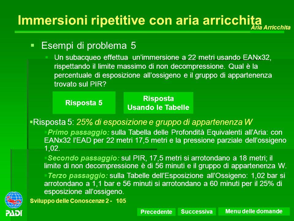 Precedente Successiva Aria Arricchita Sviluppo delle Conoscenze 2 -105 Immersioni ripetitive con aria arricchita Risposta 5: 25% di esposizione e grup