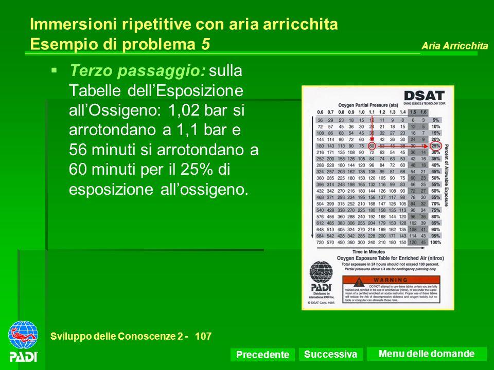 Precedente Successiva Aria Arricchita Sviluppo delle Conoscenze 2 -107 Immersioni ripetitive con aria arricchita Esempio di problema 5 Terzo passaggio