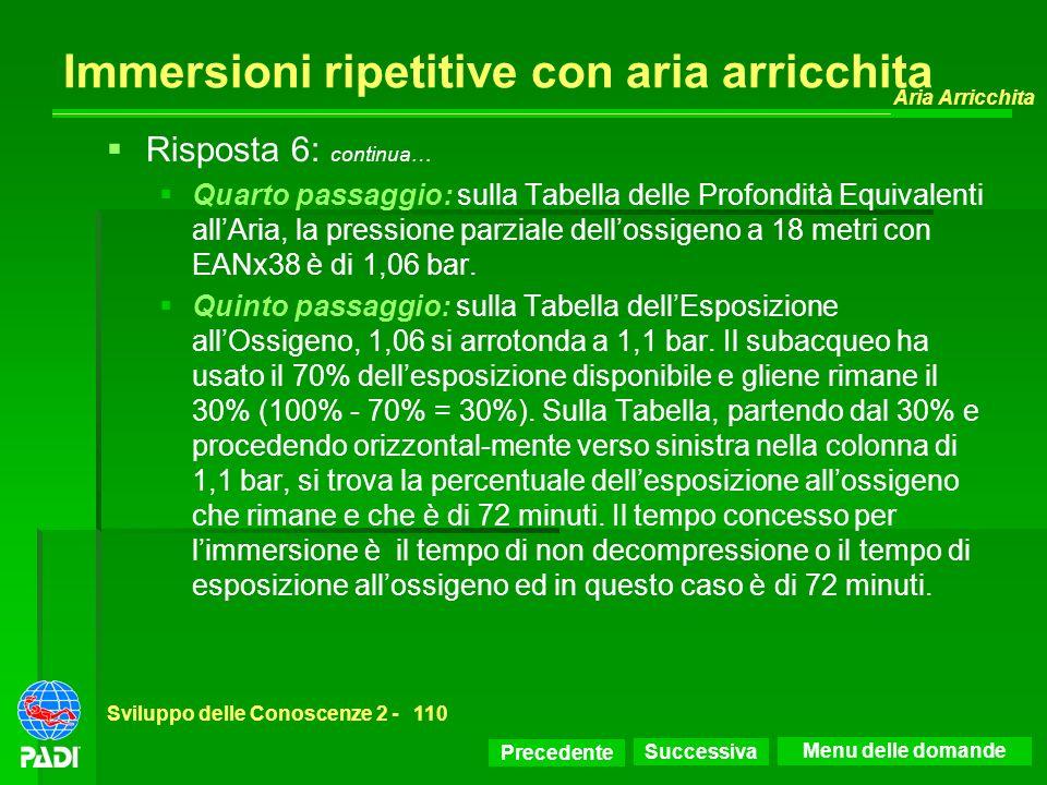 Precedente Successiva Aria Arricchita Sviluppo delle Conoscenze 2 -110 Immersioni ripetitive con aria arricchita Risposta 6: continua… Quarto passaggi