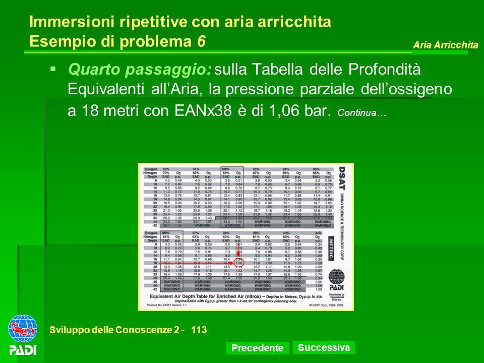 Precedente Successiva Aria Arricchita Sviluppo delle Conoscenze 2 -113 Immersioni ripetitive con aria arricchita Esempio di problema 6 Quarto passaggi