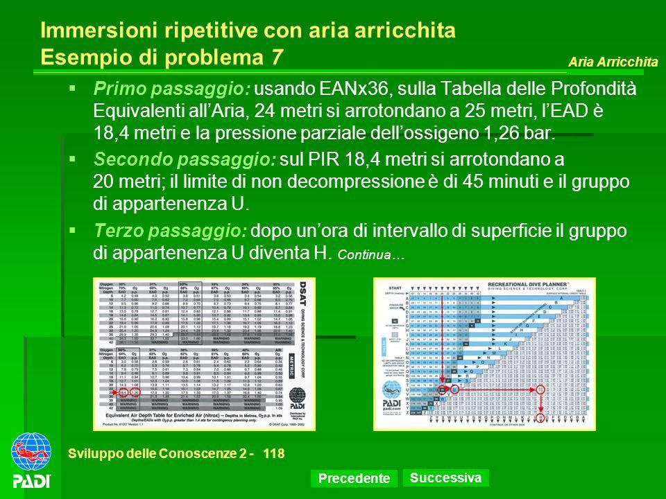 Precedente Successiva Aria Arricchita Sviluppo delle Conoscenze 2 -118 Immersioni ripetitive con aria arricchita Esempio di problema 7 Primo passaggio