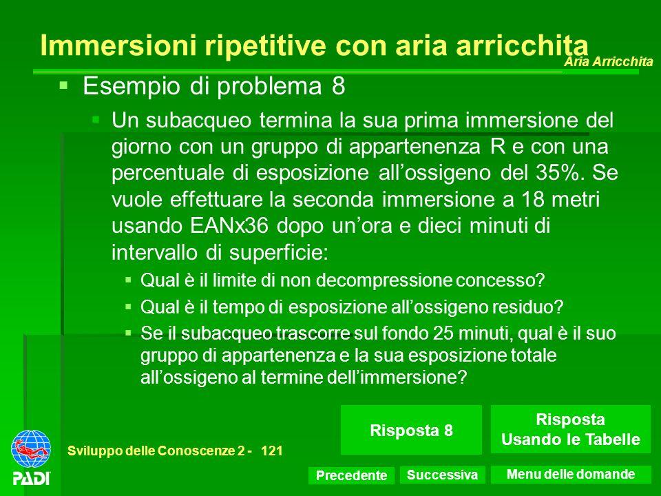 Precedente Successiva Aria Arricchita Sviluppo delle Conoscenze 2 -121 Risposta 8 Immersioni ripetitive con aria arricchita Esempio di problema 8 Un s