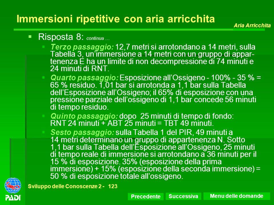 Precedente Successiva Aria Arricchita Sviluppo delle Conoscenze 2 -123 Immersioni ripetitive con aria arricchita Risposta 8: continua … Terzo passaggi